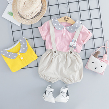 2019 Summer Toddler Infant Clothes Suits Baby Girls Clothing Sets T Shirt Bib Pants Kids Children Casual Shorts  Suit toddler summer girls clothes set 2018 casual children bow tie t shirt pants girls clothing sets kids girl suit for 4 14 years