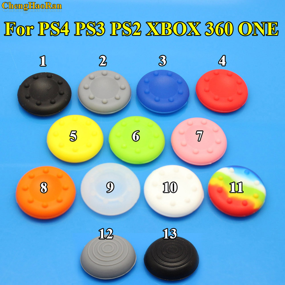 Best Price 2pcs Rubber Silicone Cap  Stick Grips Cover For PS4 PS3 PS2 XBOX 360 ONE Controller Caps 13 Colors Stick Heads