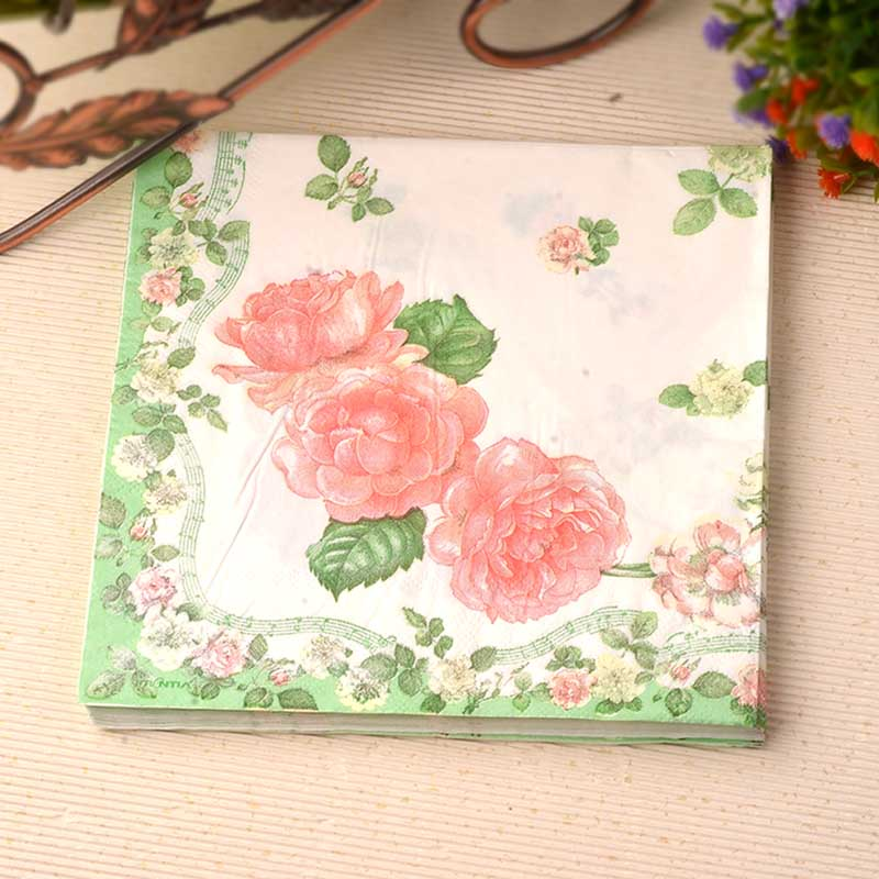 33cm*33cm 20pcs/pack/lot Green Fresh Paper Napkin Tissue Decoration for Cafe Party Wedding Banquet Hotel Paper Napkin