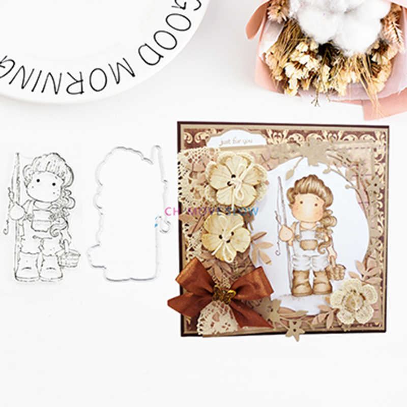 Cesta de Metal Menina Corte Morre e Cartão Stencil selos DIY Scrapbooking Artesanato De Papel Artesanal Álbum de fotos Decoração Do Casamento