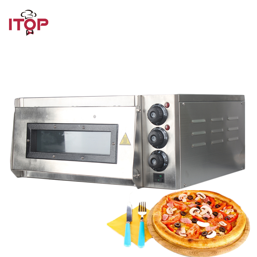 Four à Pizza ITOP 2KW four à Pizza électrique Commercial monocouche four à cuisson électrique professionnel gâteau/pain/Pizza avec minuterie