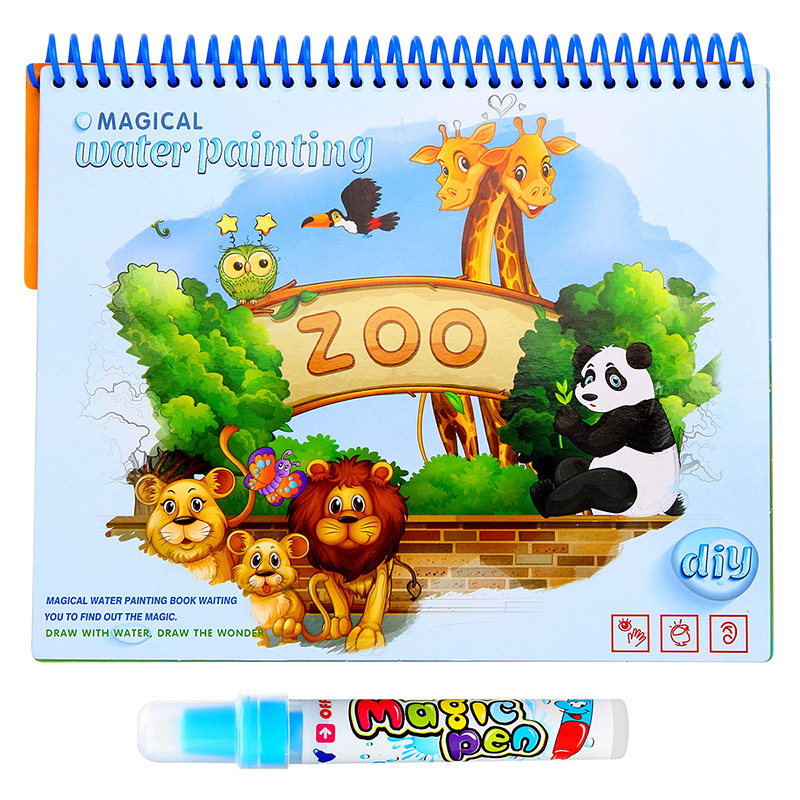 Childrens Magic Water Book Repeatable Drawing Zoo Animal Dinosaurs Coloring Book Doodle Pen For Kids Educational Toys
