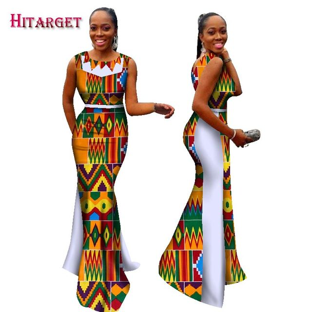 f5ecab1a58e41 New Bazin Riche African Dresses for Woman Print Splice O Neck Mermaid  Dresses Dashiki African Traditional