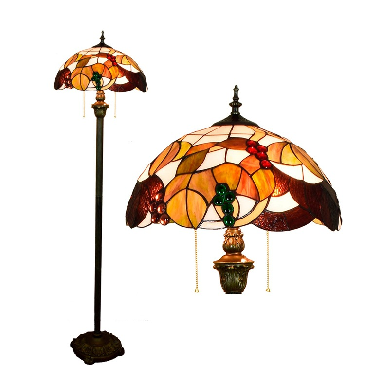 European Tiffany stained glass lamp decorated dining room bedroom garden grape American floorlamp Hotel Americano lighting E27