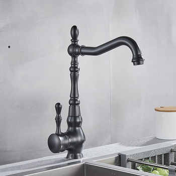 Black Bronze Kitchen Faucets Cold Hot Kitchen Mixer Tap Single Handle Mixer Tap 360 Rotation Kitchen Water Crane Tap