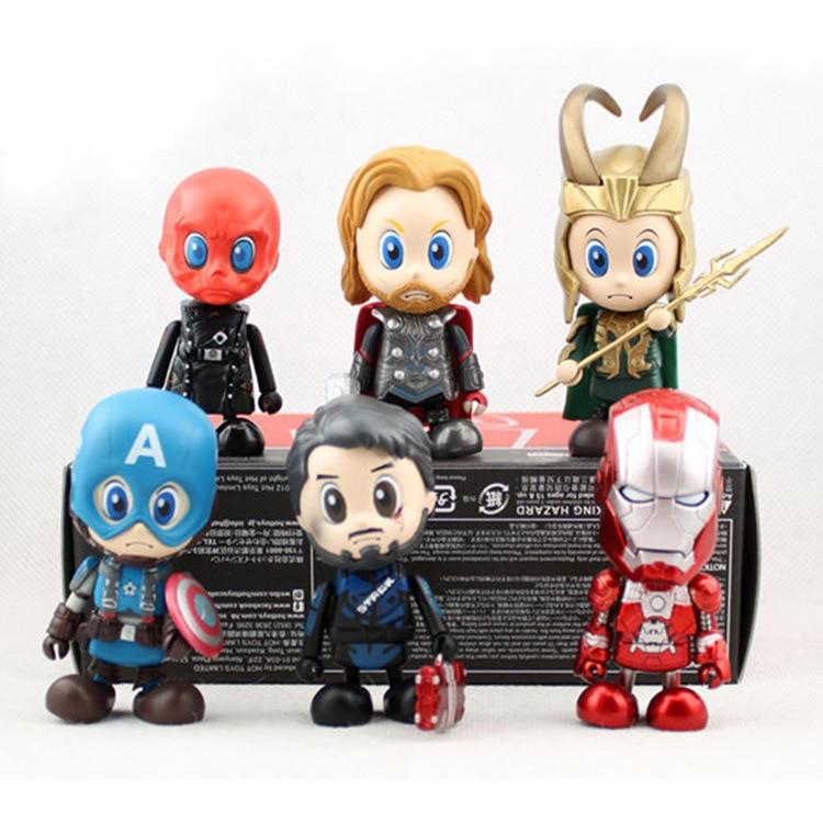 6pcs/set The Avengers Alliance Mini Action Figures Superhero Spiderman Thor Ironman Loki Captain America Cute Model