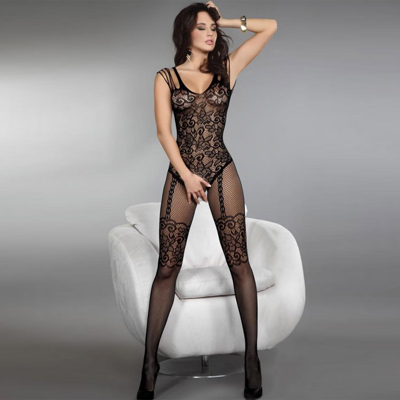 Bodysuit women ultra thin Spring flower pattern mesh stockings tights sexy sleep set 79440 ...