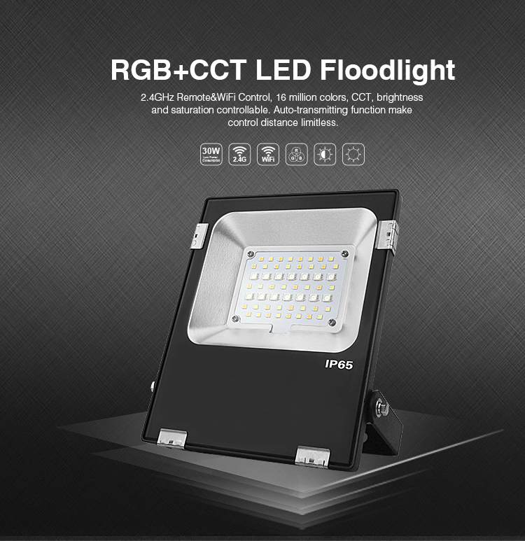 Mi Light 20W LED Floodlight IP65 AC85-265V Waterproof RGB + CCT LED Flood Light For Outdoor Lighting Free shipping 1pcs portable 20w rechargeable led floodlight ac 85 265v waterproof emergency light camping outdoor lighting lamps