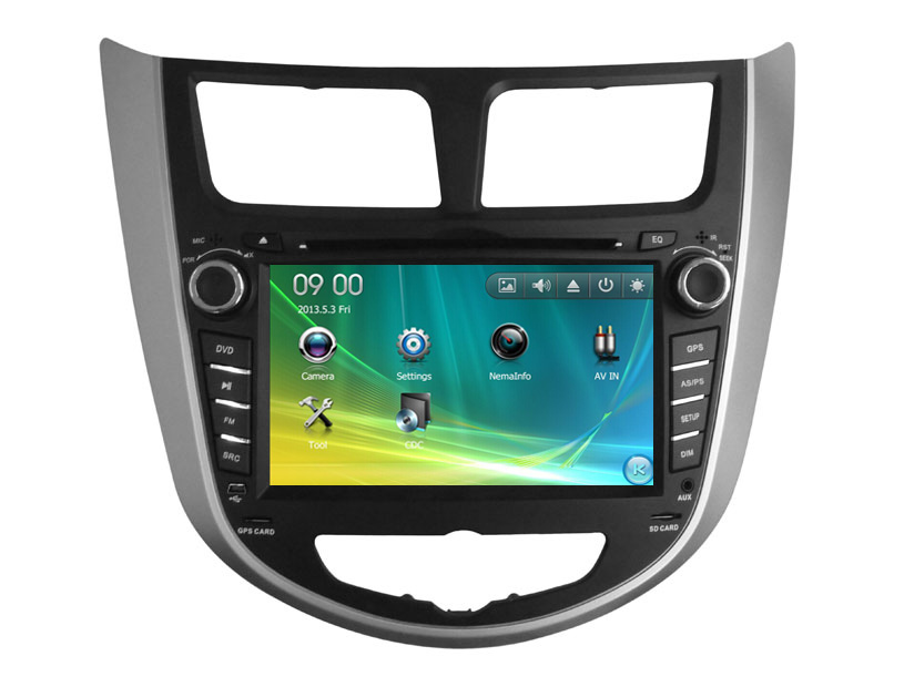 Two Din 7 Inch Car DVD Player For HYUNDAI Verna Solaris 2011 With GPS Bluetooth IPOD