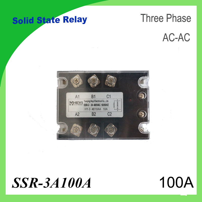 SSR-3A100A  AC to AC 3 Phase Solid State Relay 100A for Temperature Controller 70-280VAC solid state relay ssr 120da clear cover for temperature contoller