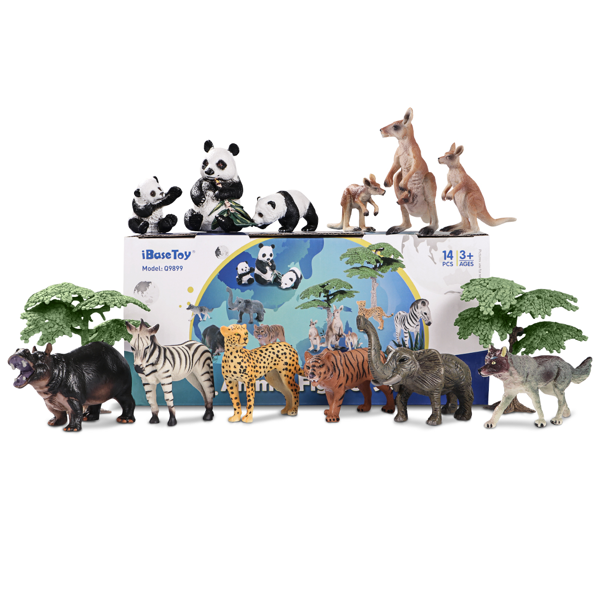 IBaseToy 14PCS Animal Figures Set Realistic Toy Wild Animal Models For Kids And Toddler Educations