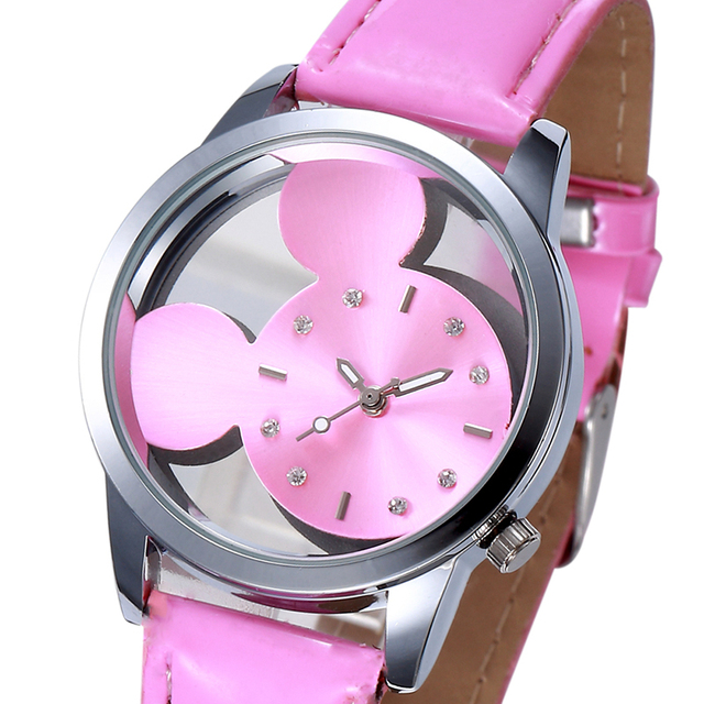 Pink Mickey Minnie Mouse Hollow Watches Women Fashion Rhinestone Watch Creative