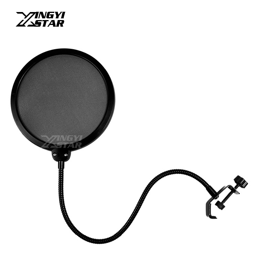 double layer studio microphone wind screen pop filter mask isolation shied mic foam cover for. Black Bedroom Furniture Sets. Home Design Ideas