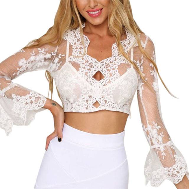Coromose Women's Fashion Perspective Sexy Floral Lace Mesh Embroidered Long Sleeves Crochet Beautiful Tops White New Arrival