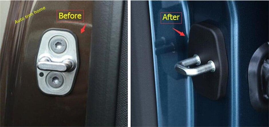 For Peugeot 5008 2017 2018 Plastic Inner Car Door Lock Protector Cover Buckle Decoration Molding Garnish Trim 4 Pcs / Set