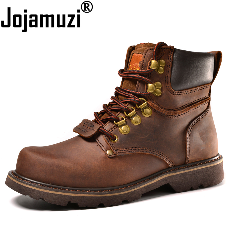 Genuine Leather Men Boots Fashion Military Cow Leather Mens Safety Boots High Quality Tooling Boots Man