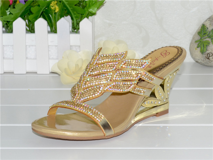 2016 Summer New Diamond Slope With High Heeled Wedges Online Shoes Sandals Size 11 Womens Golden Open Toe Slippers11