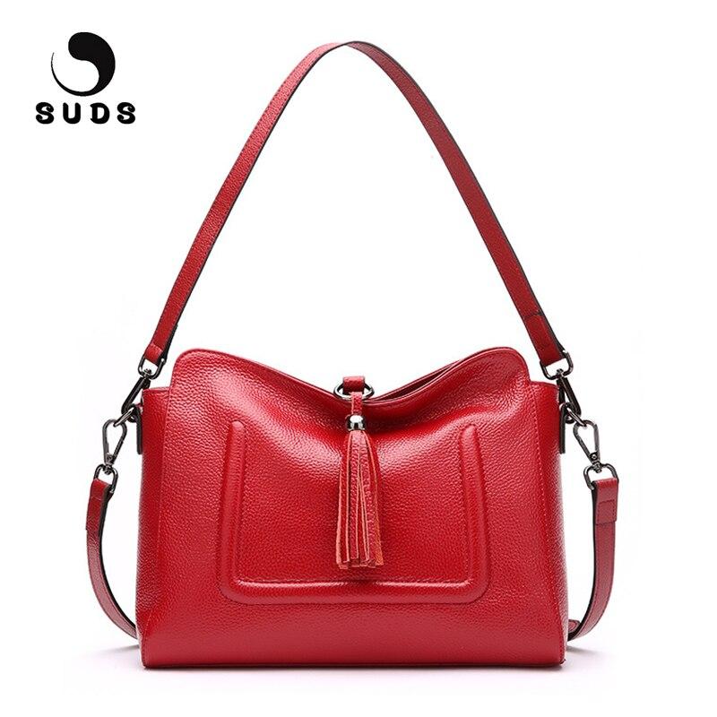 SUDS Brand Women Shoulder Bags 2017 Genuine Leather Tassel Women Messenger Bag Designer High Quality Female Fashion Shopping Bag suds brand women casual 100
