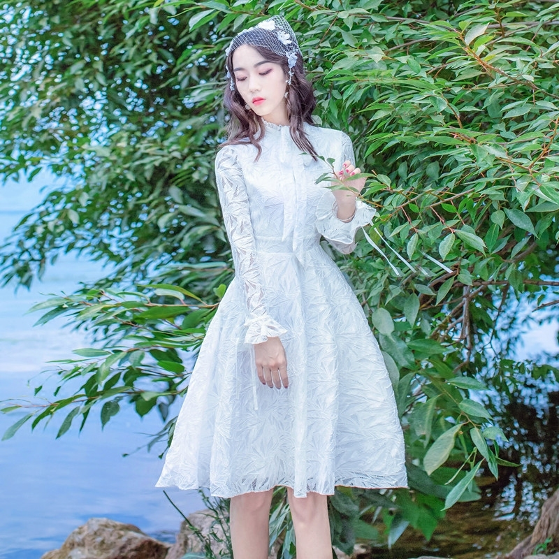 Us 3777 20 Offhot Sale 2019 Women White Lace Dress Spring Elegant Long Sleeve Loose Casual A Line Party Dresses Vestidos F884 In Dresses From