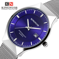 Ultra Thin Quartz Watch Mens Top Brand Luxury Famous Mesh Waterproof Date Clock For Male Steel
