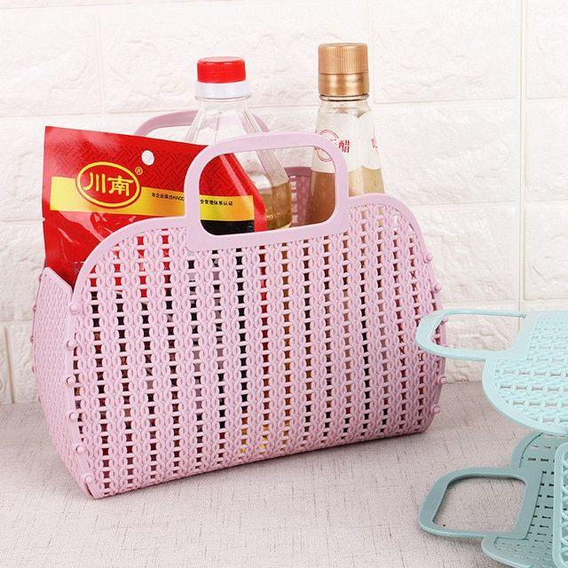 Urijk cesta de almacenaje plegable colorido de moda portátil de plástico cocina baño cesta accesorios de baño los organizadores