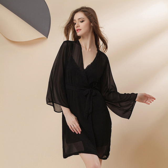 2017 Freeshipping Spring Summer Sexy Women's Spaghetti Strap Nightgown Sleepwear Female Silk Robe Twinset Lounge Set