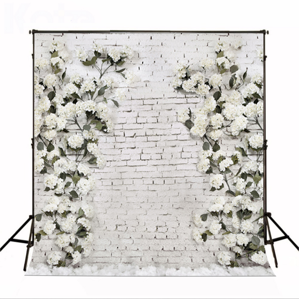 Wedding Photography Background Green Leaves Photo Backdrops Vinyl White Brick Wall Wedding Background for Photographic Studio dark brown brick wall with white clock photography backdrops wedding background 200x300cm photo studio props fotografia