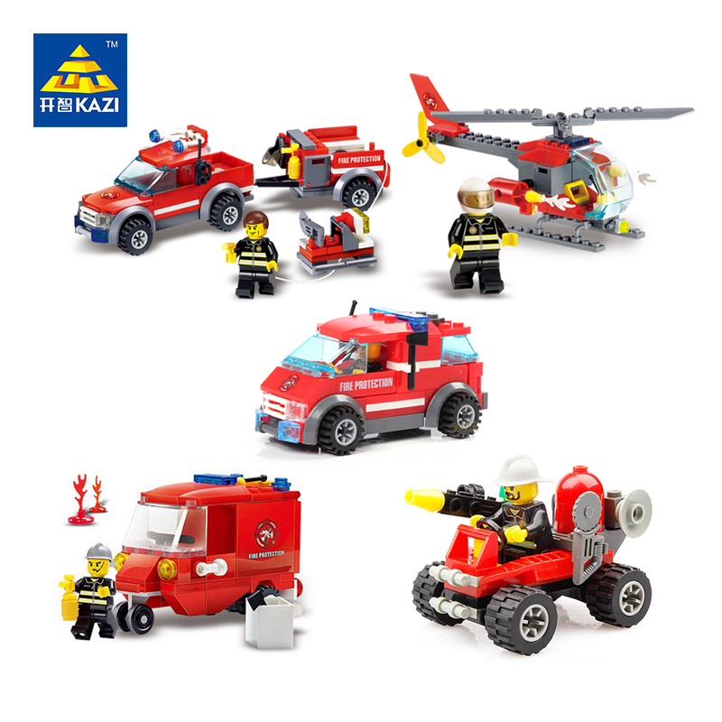 KAZI Fire Vehicle Building Block Rescue Car Truck Helicopter Brick Toy Model Building Blocks Brinquedos Toys for Kids kazi fire rescue airplane action model building block set brick classic collectible creative educational toys for children