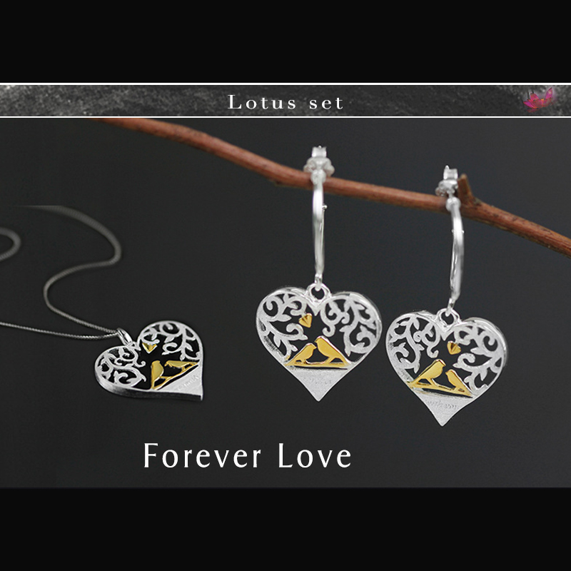 Lotus Fun Real 925 Sterling Silver Creative Handmade Fine Jewelry Forest Bird in Love Heart Shape Jewelry Set женские сапоги in heart bird 6301 2014