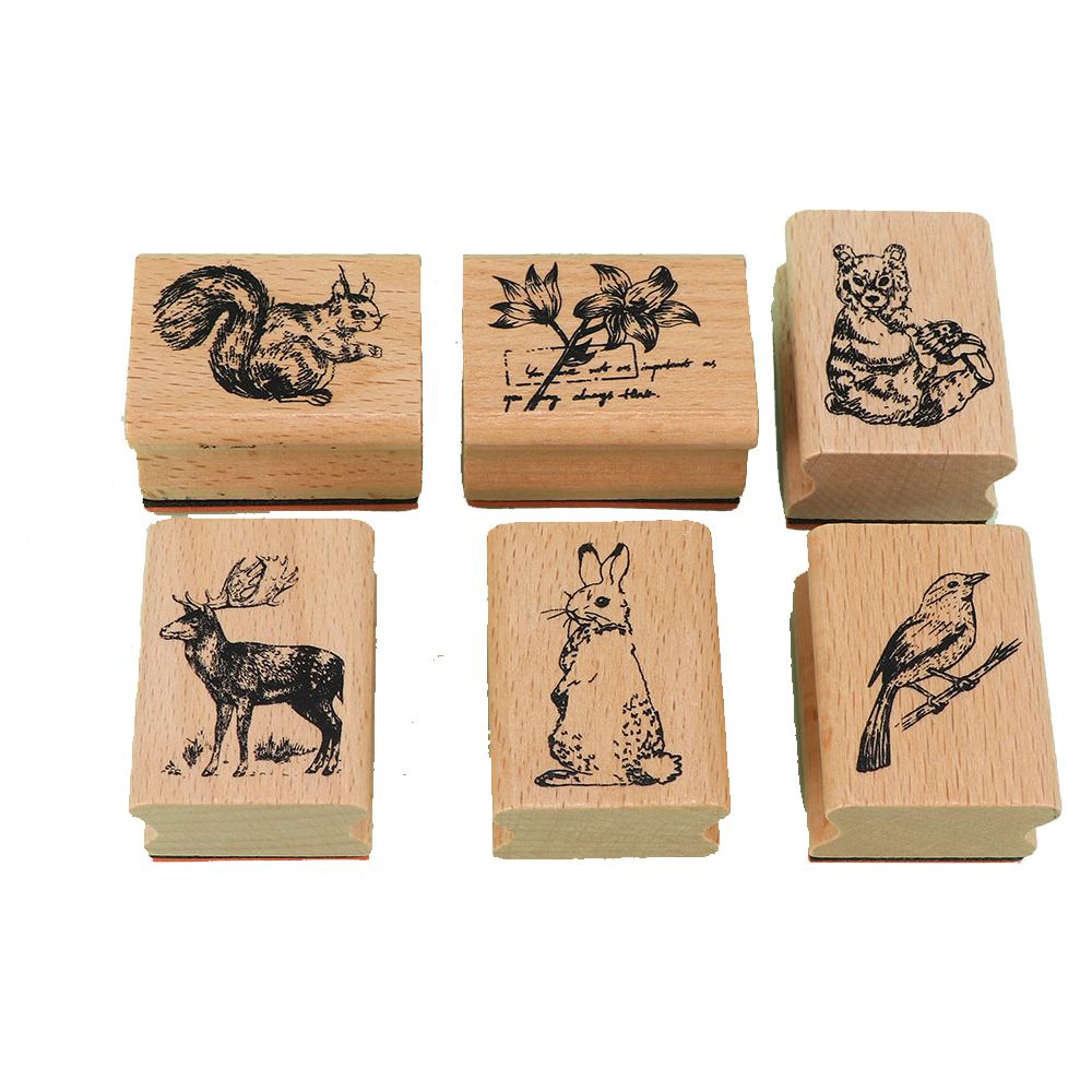 Vintage Cute Animal Plants Decoration DIY Stamps Toys Wooden Rubber Stamps For Kids Scrapbooking Stationery DIY Craft Stamp