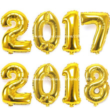 4pcs/lot number 2017 or 2018 Gold/silver 16inch balloon foil ballon happy new year party decoration Celebration supplies