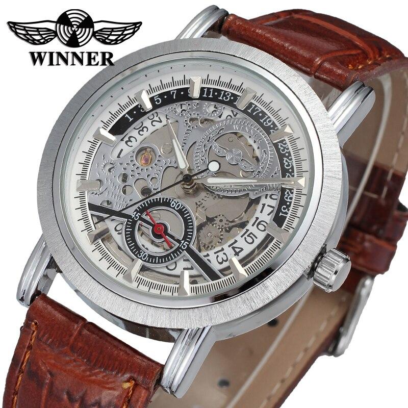 WRG8077M3S2 winner marque nouveauté automatique hommes argent couleur squelette montre avec bracelet en cuir marron montre-bracelet livraison gratuite