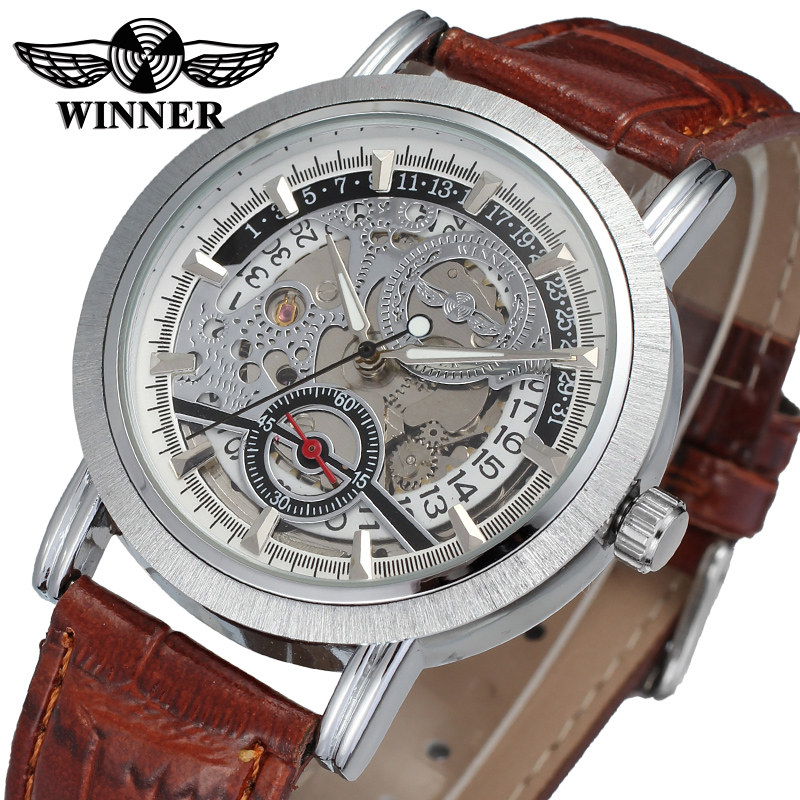 WRG8077M3S2 winner brand new arrival Automatic men silver color skeleton watch with brown leather band wristwatch free shipping купить недорого в Москве