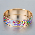 New Design Enamel Bracelets Bangles Stainless Steel for Women Gold Plated Bracelet Fashion Party  bangle 16MM Love Jewelry