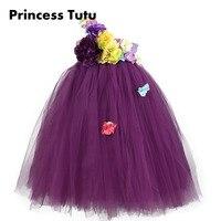Elegancki Fioletowy Lawenda Jedno Ramię Big Flower Girl Tutu Dress Kostka Długość Wstążki Kwiaty Wedding Party Sukienki Dla Dzieci