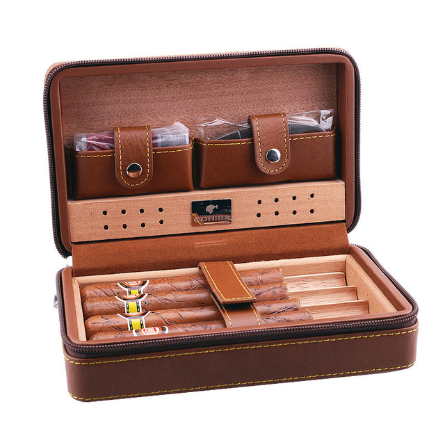 Travel Cigar Box Leather Cedar Lined Humidor with Cigar Cutter Gas Lighter Humidifier Storage Set Cigar Case Holder Accessories
