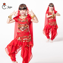 Kids Belly Dance Oriental Costumes Indian bollywood For girls 6pcs/set Top,Belt,Pant veil necklace  earring