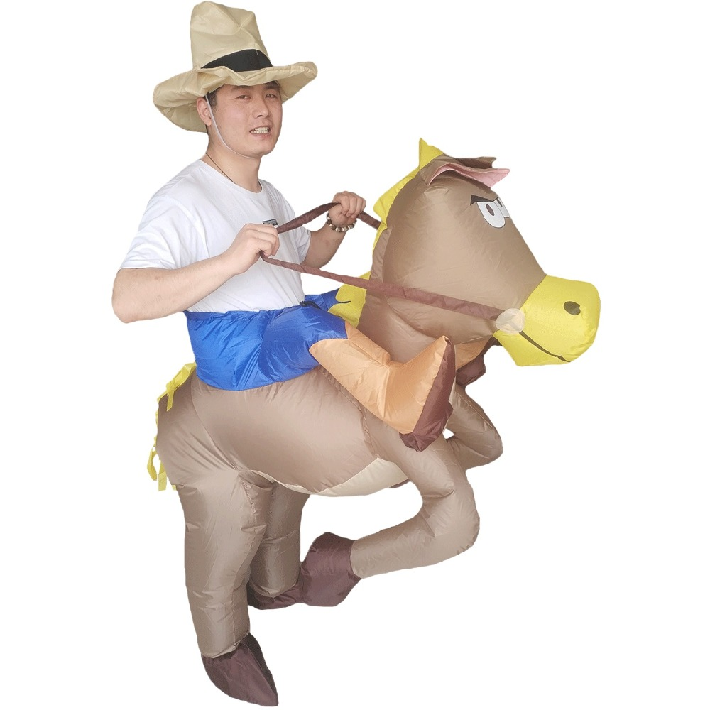 Inflatable Horse Costume Ride On Cowboy Fancy Dress Cospaly Animal Carry Costume