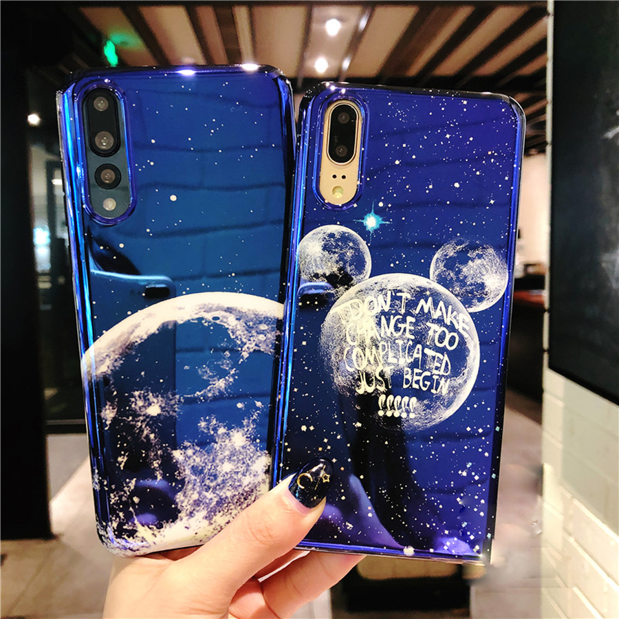 For huawei P20 pro mate 10 pro honor 10 honor 9 case cover luxury blue ray space moon soft silicone phone bag Ritozcase in Fitted Cases from Cellphones Telecommunications