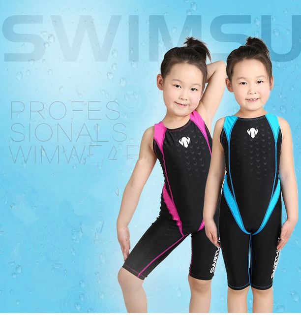 5cf7afe71a Tight Children Girls One Piece Professional Swimsuits Baby Water Sport  Elastic Bathing Racing Competition Beach Wear Swim Suits