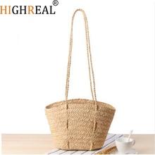 HIGHREAL Straw Handmade Beach Tote Handbag 2019 Summer Women's Woven Crossbody Bag Casual Travel Shopping Bag Bolsos