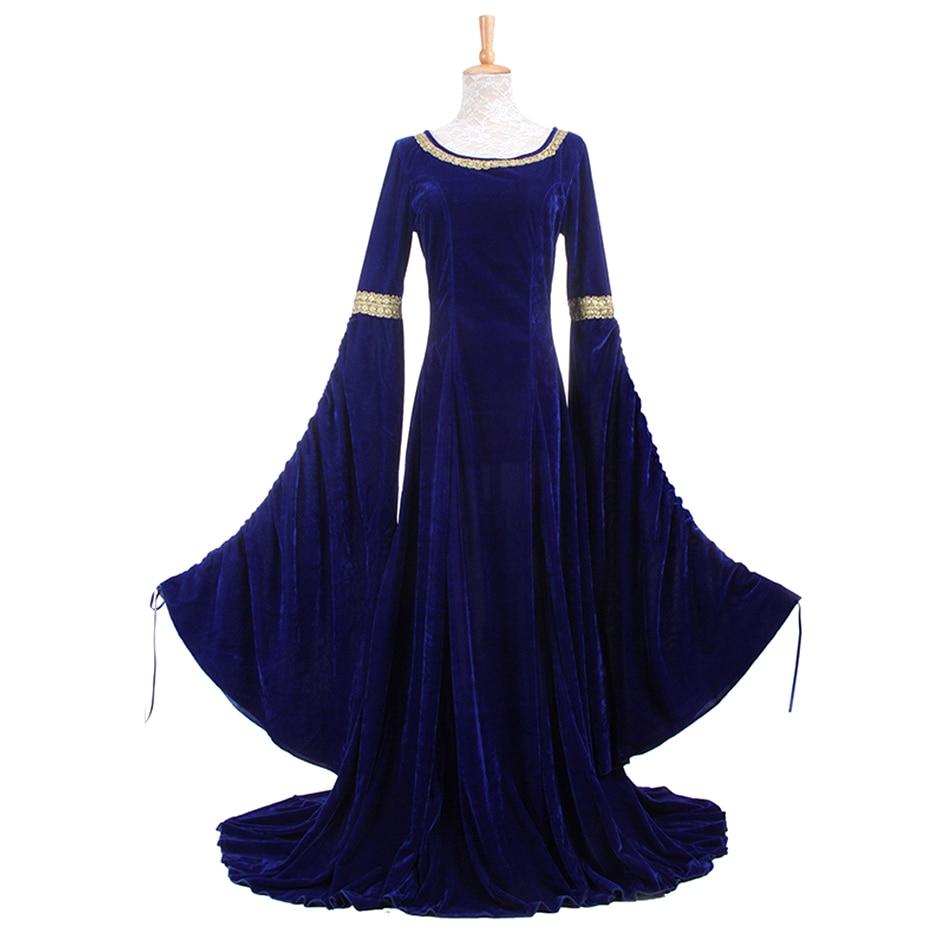 Femmes médiévale Renaissance victorienne longues robes de soirée pour Halloween médiéval Renaissance Costumes robes de bal robes