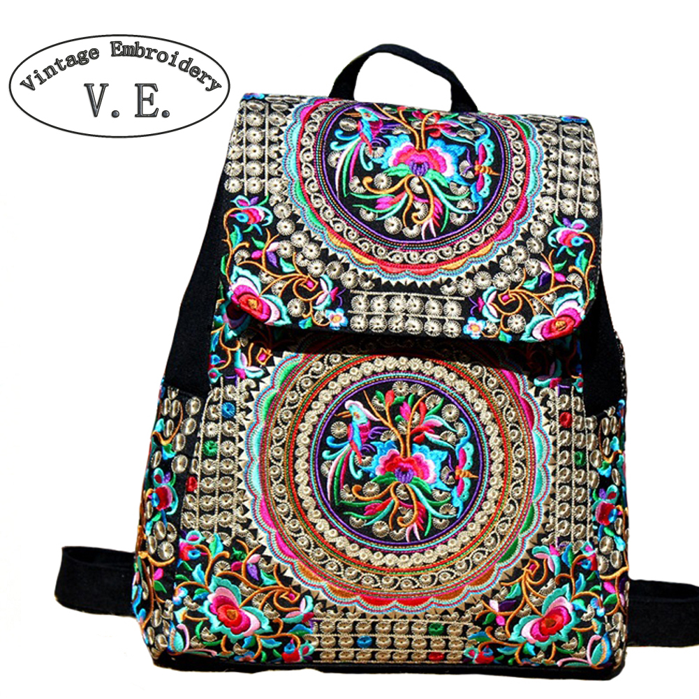 Vintage Embroidery Women Backpack Canvas Large Capacity Backpack Women School Bags For Girls Travel Bags Girls Backpack Mochila vintage cute owl backpack women cartoon school bags for teenage girls canvas women backpack brands design travel bag mochila sac