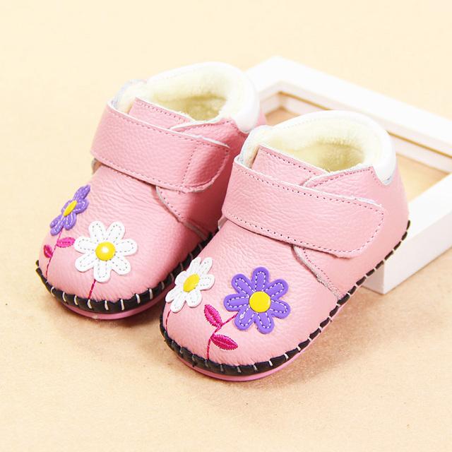 0-1 anos de idade sapatos da criança infantis sapatos fundo macio do bebê do sexo feminino no inverno