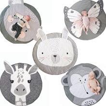 Tapete do quarto do bebê tapete de algodão grosso do bebê do bebê do bebê do bebê do algodão da criança rastejando tapete redondo girafa coelho playmat cobertor animal