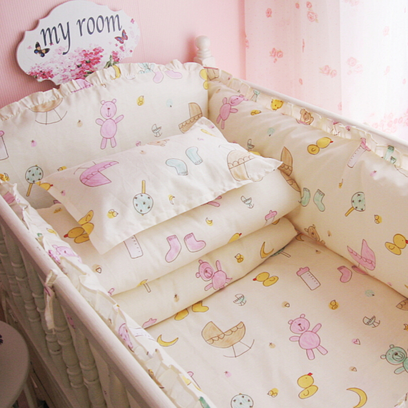 Detachable Cotton Baby Bedding Set Baby Cot Bed Linen Set In a Crib For a Newborn, Unisex, 0-2 Years Old Baby Girl Boy, 7 Sizes 0cm in diameter large space baby hand footed printing mud set newborn baby hand and foot print hundred days old gift souvenir