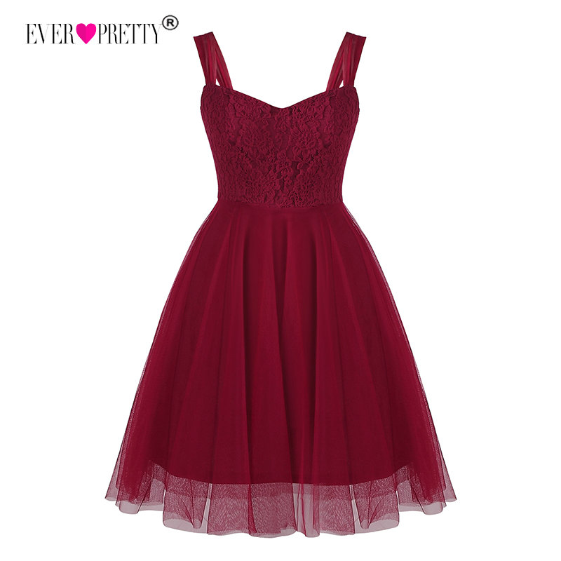 Burgundy   Bridesmaid     Dresses   Short Ever Pretty EZ03044 A-line Sleeveless Lace Tulle Short Party   Dresses   for Wedding Guest   Dresses