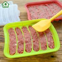 Novo 1 pçs fabricante de salsicha molde de silicone diy cachorro quente artesanal presunto salsicha molde 6 em 1 cozinha fazendo e refrigerado cachorro quente ferramenta