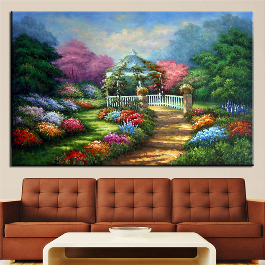 NO FRAME Home Printed TWO WAY Thomas Kinkade Landscape Oil Painting ...