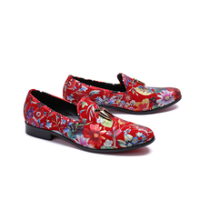 Luxury Brand Men's Leather Shoes British Style Shark Tooth Loafers Flowers Printed Mens Party Wedding Shoes Prom Banquet Flats цена